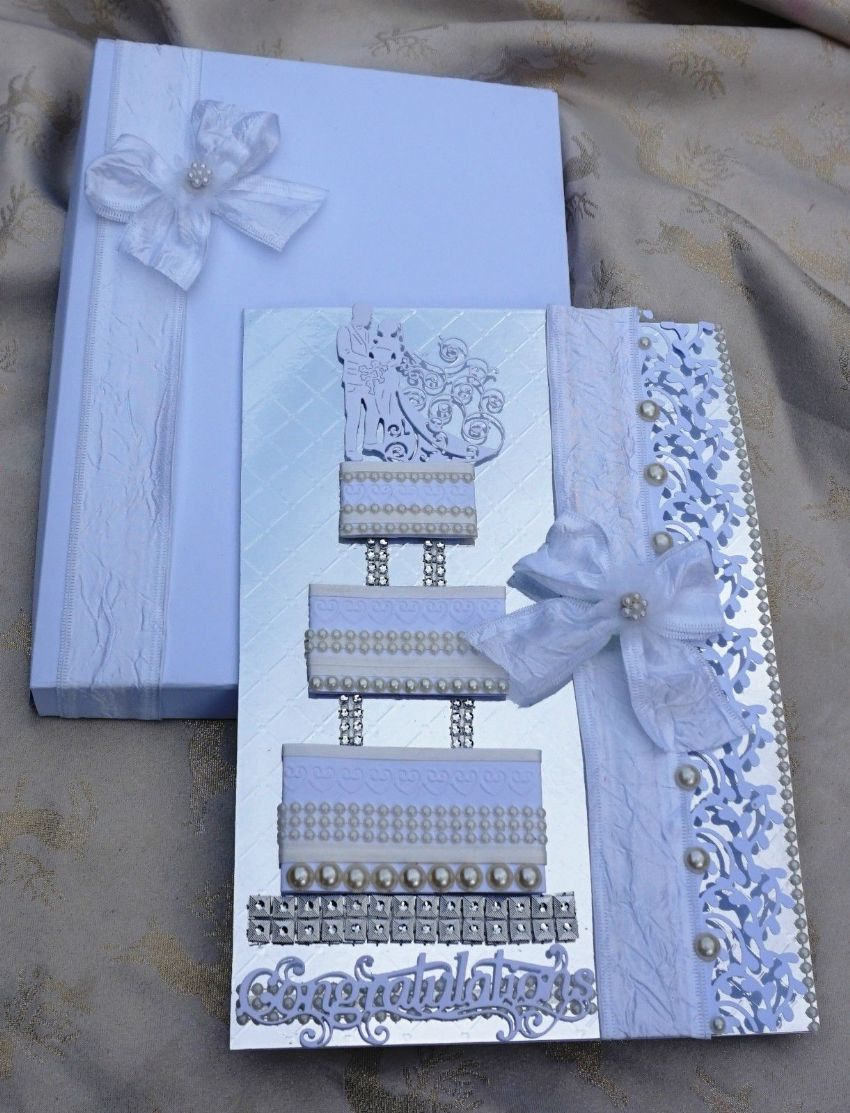 Large Wedding Day Card A4 Hand Made Boxed Keepsake Wedding Cake Card